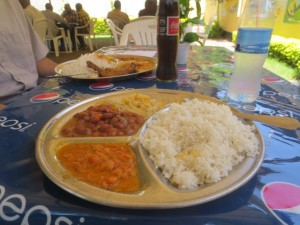 rice, beans, and accompaniments